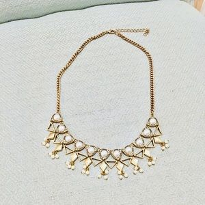 J. Crew Gold Pearl Geometric Short Necklace